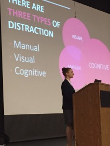 CATA board member Dana Paris showing the three types of distractions--manual, visual, and cognitive--at play when texting and driving.