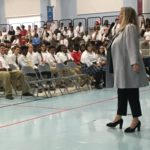 Ellen Hirshman presentign to Villa Angela St. Joseph's High School students on distracted driving, September 14, 2016.